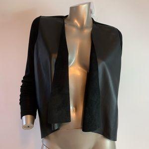 Dex Sweaters - Dex Faux Leather Drape Cascade Open Cardigan Small